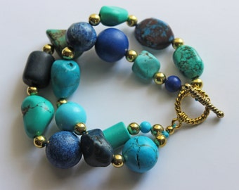 Mixed Turquoise and Labradorite Toggle Clasp Bracelet