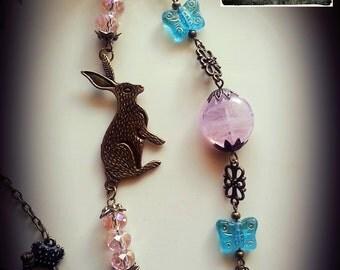 Beatrix, Asymmetrical Vintage Rabbit Assemblage Necklace