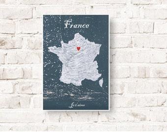 Customizable print Paris, France, I love Paris, I love France, Je t'aime, Love gift,