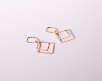 Rose Gold Diamond Pendant Earrings Dangly Earrings Rose Golden Square Diamond