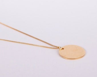 Long Gold Plated Necklace Disc Gold Ring Circle Large Coin Golden Necklace