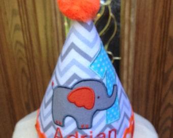 Boys Birthday Hat - Elephant Theme