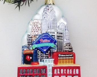 FREE SHIPPING Glass Philadelphia Skyline Ornament with Phillies, Citizen's Bank Park / Keepsake Ornament /  Theater with a View Fundraiser