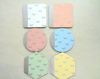 Pastel Coasters, Chevron Coasters, Handpainted Wooden Coasters