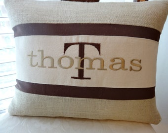 family name monogram - housewarming gift - first house - handmade burlap and canvas pillow