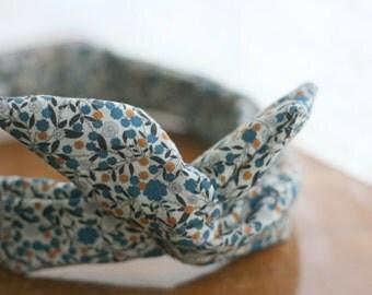 Headband retro-headband - liberty - blue