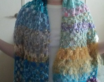NEW ITEM!  Hand crocheted open work, lacy design. Multi colored wide scarf or shawl. Various yarns, colors and textures.