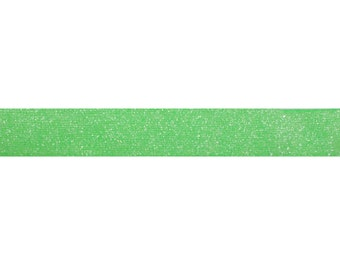"""Neon Green - 5 Yards 5/8"""" Frosted Glitter Elastic - 5/8-F-007"""