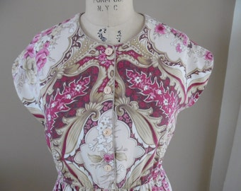 Vintage 1980s Redux 1950s Mauve Pink and Tan Cartouche Floral Print Day Dress by S.M.P. High Class