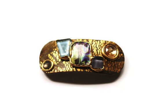 Hair Barrette Hair Clip Natural Color Clip Womens Hair Accessory, Hair Clip, Polymer Clay Barrette, Gold, Copper,Turquoise Hair Barrette