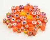 Millefiori Murrano - orange mix 50-60pieces