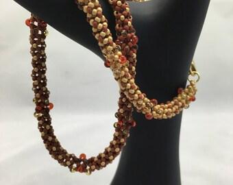 Terracotta and Gold Chenille Stitch bracelet