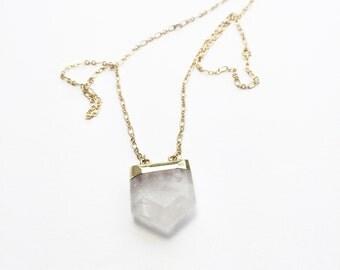Crystal Quartz Shield Necklace