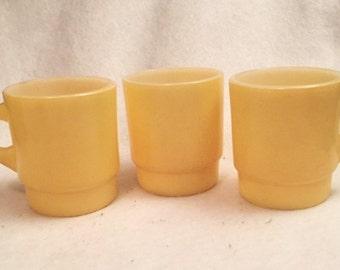 Fire King 3 yellow mugs