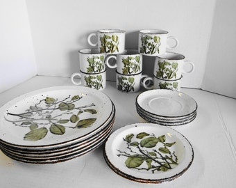 "Vintage Beautiful Zen - England Made Wedgewood Group ""Greenleaves"" Stonehedge Midwinter Dishes Set"