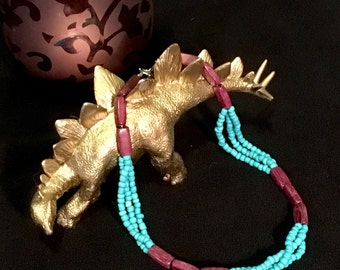 Turquoise and Wine - Handmade Beaded Necklace