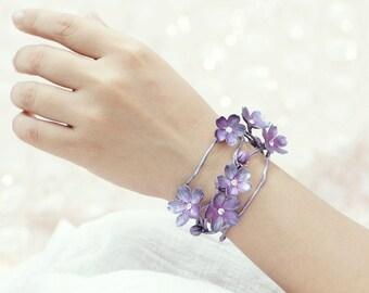 sakura cuff,cherry blossom bracelet ,handmade by polymer clay