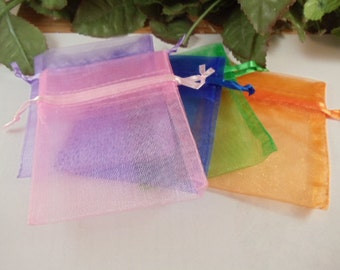 10 Organza Bags 3 x 4 - Pick your Color or Mix and Match Colors - Great for Crafts and Gifts - Wedding Favor - Hostess Gift
