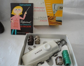Professional Buttonholer By Singer For Slant Needle Zig Zag Sewing Machines Original Box Instructions Booklet