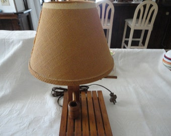 Wood Table Lamp Well Pump Design Burlap Covered Clip On Shade End Table Lamp Vintage Lighting
