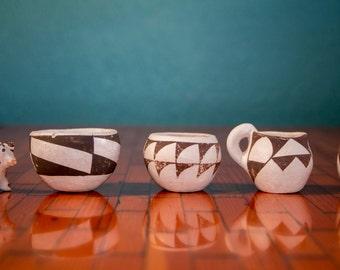 Acoma Pueblo Pottery, Vintage, Signed, Miniature Collection