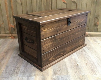 Handmade Solid Pine Storage Trunk Chest Rustic Farmhouse Toy Box Blanket Box Ottoman Boot box