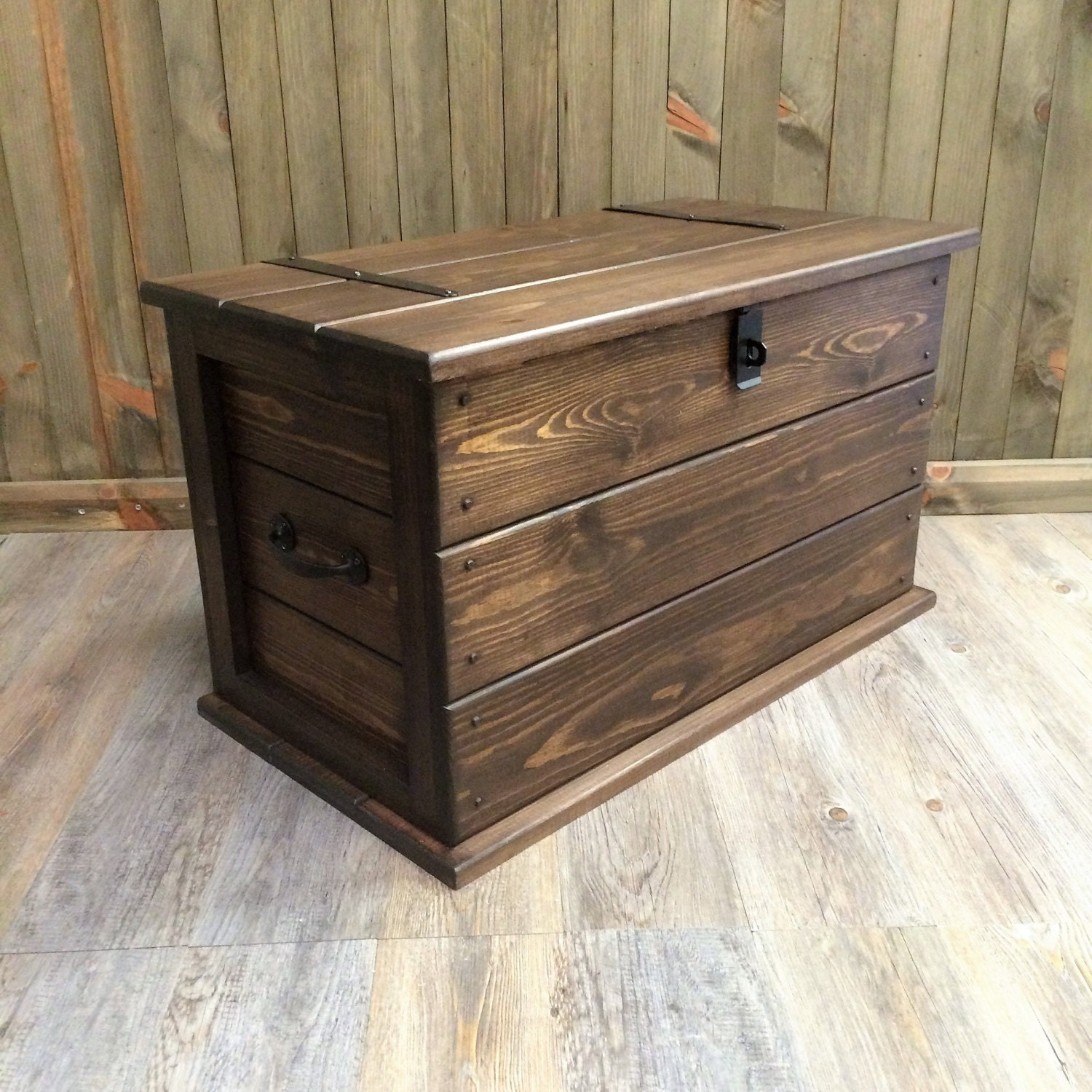 🔎zoom - Handmade Solid Pine Storage Trunk Chest Rustic Farmhouse Toy