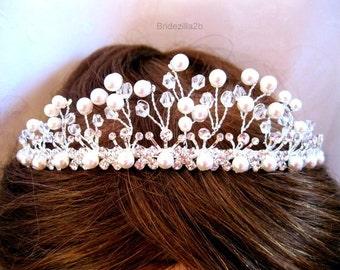 Wedding Headpiece, Bridal Tiara, Swarovski Crystal Rhinestones & Pearls, Accessories,Hair