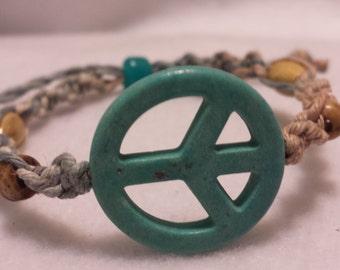 Peace Sign Hemp Bracelet