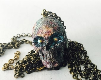 Hand Painted Sugar Skull Necklace