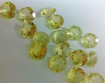 25 Pieces Lot Natural Lemon Quartz Round Shape Faceted Cut Gemstone