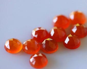 25 Pieces Lot Carnelian Round Shape Rose Cut Loose Gemstone