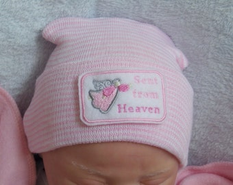 Newborn Hospital Hat. Newborn Coming Home. Newborn Girl Hat. Sent from Heaven Embroidery