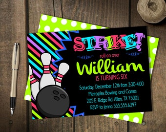 Glow Bowling Party Invitation