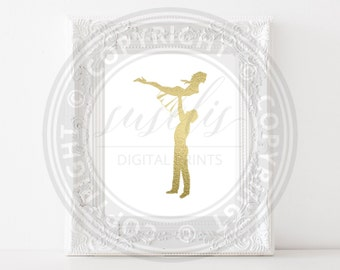 Dirty Dancing, Gold foil print, Golden wall art, DD The Lift poster, Iconic print decor, 8x10 and 11x14, Instant Download JPG & PDF