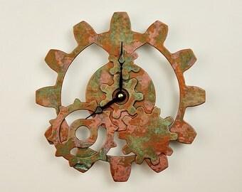 Copper Steampunk Gear Clock - Industrial Gear Clock