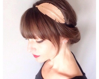 "head-band ""pen"" rose gold metallic leather mounted on elastic"