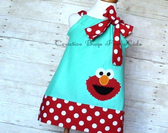 Elmo Dress/ Sesame Street Dress/ Elmo Outfit/ Personalized Elmo Clothing (matching bag available)