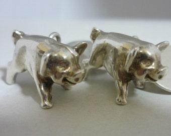 Sterling Silver Pig Sculpture Cufflinks By CCP