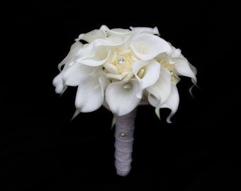 Wedding Bouquet, bridal bouquet, calla lily bouquet, vintage wedding bouquet, white calla lily bouquet, real touch calla lilies,