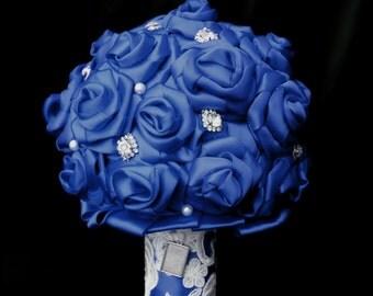 Wedding Bouquet, bridal bouquet, brooch bouquet, ribbon bouquet, fabric bouquet, blue wedding bouquet, alternative bouquet, keepsake bouquet