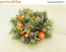 ON SALE Vintage Candle Ring plastic Christmas candle ring Retro Holiday decor centerpiece Kitschy Christmas wreath  pinecones and chestnuts