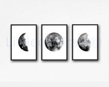 Moon Phase Print Set of 3 Watercolor Prints Luna Minimalist Gray Black Lunar Phases Moon Art Home Decor 3 Art Prints Unframed