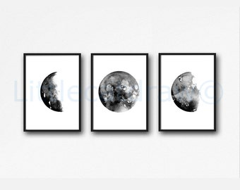 Moon Phase Print Set of 3 Watercolor Prints Celestial Bedroom Wall Decor Wall Art Luna Gray Black Lunar Phases Home Decor Moon Print