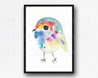 Happy Cuddly Rainbow Bird Print Watercolor Painting Art Print Archival Art Print Wall Art Watercolour Wall Art Unframed