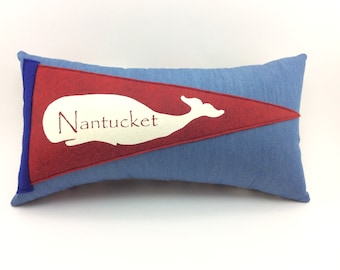 Nantucket Whale Vintage Inspired Pennant Pillow 13 inches