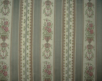 Victorian tapestry weight drapery or upholstery fabric gray stripe / floral New old stock sold per yard
