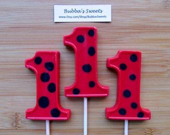 """Number ONE """"LADYBUG""""Pops (12) - 1-9 AVAILABLE! Ladybug Birthday/Ladybug Favors/Lady Bug Party/1st Birthday"""