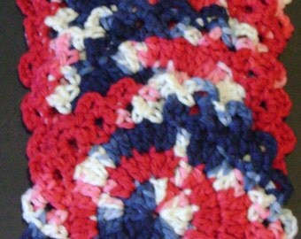 Hand Crocheted Coasters/ Red, White and Blue