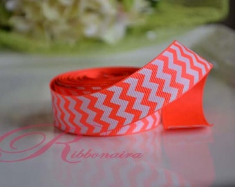 "Neon orange /white  chevron 7/8""  grosgrain  Ribbon  hair bow"